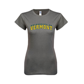 Ladies SoftStyle Junior Fitted Charcoal Tee-Arched University of Vermont