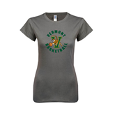 Ladies SoftStyle Junior Fitted Charcoal Tee-Basketball