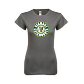 Ladies SoftStyle Junior Fitted Charcoal Tee-Vermont Catamounts Circle