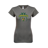 Ladies SoftStyle Junior Fitted Charcoal Tee-Basketball in Ball Design