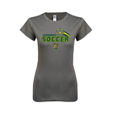 Ladies SoftStyle Junior Fitted Charcoal Tee-Soccer Swoosh Design