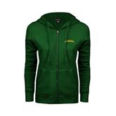 ENZA Ladies Dark Green Fleece Full Zip Hoodie-Arched Vermont Catamounts