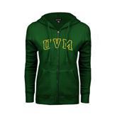 ENZA Ladies Dark Green Fleece Full Zip Hoodie-Arched UVM