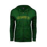ENZA Ladies Dark Green Fleece Full Zip Hoodie-Arched Catamounts