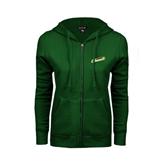ENZA Ladies Dark Green Fleece Full Zip Hoodie-Slanted Vermont Catamounts