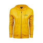 ENZA Ladies Gold Fleece Full Zip Hoodie-Arched Vermont Catamounts