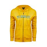 ENZA Ladies Gold Fleece Full Zip Hoodie-Arched Vermont