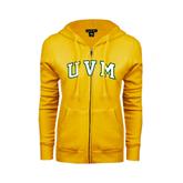 ENZA Ladies Gold Fleece Full Zip Hoodie-Arched UVM