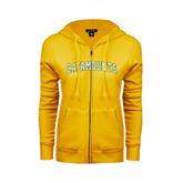 ENZA Ladies Gold Fleece Full Zip Hoodie-Arched Catamounts