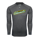 Under Armour Carbon Heather Long Sleeve Tech Tee-Slanted Vermont Catamounts