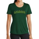Ladies Performance Dark Green Tee-Arched Vermont Catamounts