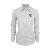 Ladies White Twill Button Down Long Sleeve-Official Logo