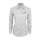 Ladies White Twill Button Down Long Sleeve-Slanted Vermont Catamounts