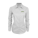 Ladies White Twill Button Down Long Sleeve-Arched Vermont Catamounts