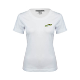 Ladies White Stretch Scoop Neck-Slanted Vermont Catamounts