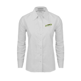 Ladies White Oxford Shirt-Slanted Vermont Catamounts