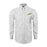 Mens White Oxford Long Sleeve Shirt-Slanted Vermont Catamounts