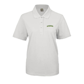 Ladies Easycare White Pique Polo-Arched Vermont Catamounts