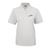 Ladies Easycare White Pique Polo-Slanted Vermont Catamounts