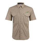 Khaki Short Sleeve Performance Fishing Shirt-Slanted Vermont Catamounts