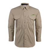 Khaki Long Sleeve Performance Fishing Shirt-Slanted Vermont Catamounts