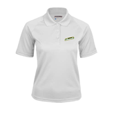 Ladies White Textured Saddle Shoulder Polo-Slanted Vermont Catamounts