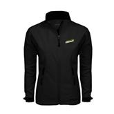 Ladies Black Softshell Jacket-Slanted Vermont Catamounts