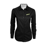 Ladies Black Twill Button Down Long Sleeve-Slanted Vermont Catamounts