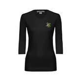 Ladies Black 3/4 Sleeve Scoop Neck-Official Logo