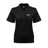 Ladies Easycare Black Pique Polo-Slanted Vermont Catamounts
