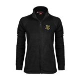Ladies Fleece Full Zip Black Jacket-Official Logo