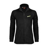 Ladies Fleece Full Zip Black Jacket-Slanted Vermont Catamounts