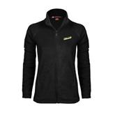 Ladies Fleece Full Zip Black Jacket-Slanted Vermont Catamounts