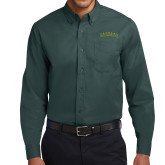 Dark Green Twill Button Down Long Sleeve-Arched Vermont Catamounts