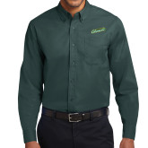 Dark Green Twill Button Down Long Sleeve-Slanted Vermont Catamounts