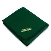 Dark Green Arctic Fleece Blanket-Slanted Vermont Catamounts