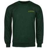 Dark Green Fleece Crew-Arched Vermont Catamounts