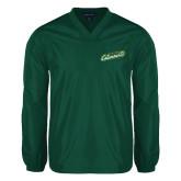 V Neck Dark Green Raglan Windshirt-Slanted Vermont Catamounts
