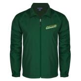 Full Zip Dark Green Wind Jacket-Slanted Vermont Catamounts