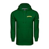 Under Armour Dark Green Performance Sweats Team Hoodie-Arched Vermont Catamounts