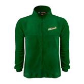 Fleece Full Zip Dark Green Jacket-Slanted Vermont Catamounts