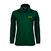 Ladies Fleece Full Zip Dark Green Jacket-Arched Vermont Catamounts