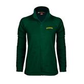 Ladies Fleece Full Zip Dark Green Jacket-Arched Vermont Catamounts