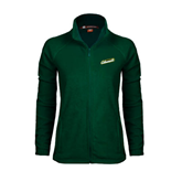 Ladies Fleece Full Zip Dark Green Jacket-Slanted Vermont Catamounts