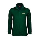 Ladies Fleece Full Zip Dark Green Jacket-Slanted Vermont Catamounts