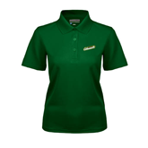 Ladies Dark Green Dry Mesh Polo-Slanted Vermont Catamounts