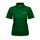 Ladies Dark Green Dry Mesh Polo-Arched Vermont Catamounts