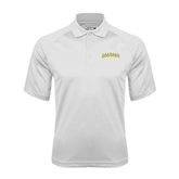 White Textured Saddle Shoulder Polo-Arched Vermont Catamounts