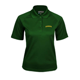 Ladies Dark Green Textured Saddle Shoulder Polo-Arched Vermont Catamounts