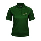 Ladies Dark Green Textured Saddle Shoulder Polo-Slanted Vermont Catamounts